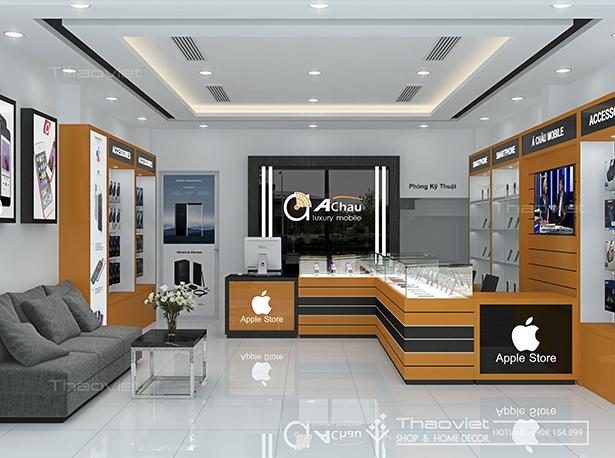 Cùng xem thiết kế mới của shop Á Châu mobile để có thể hiểu hơn về việc xây  dựng hình ảnh thương hiệu bán hàng qua hình ảnh nội thất shop nhé!